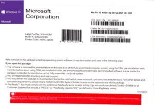 Microsoft Windows 10 PRO Oem DVD EN/IT