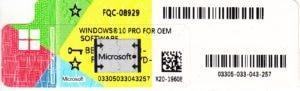 Microsoft Windows 10 PRO Oem IT COA